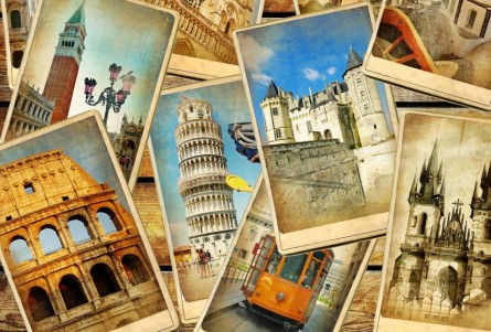 vintage travel collage background